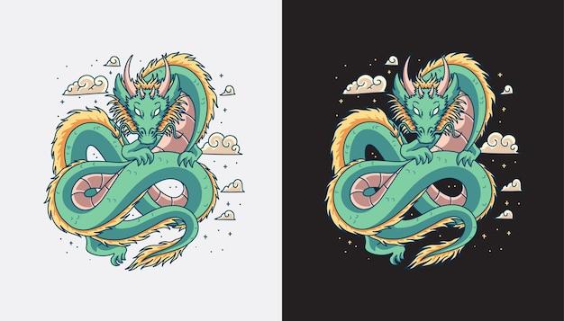 Vettore di disegno dell'illustrazione del drago