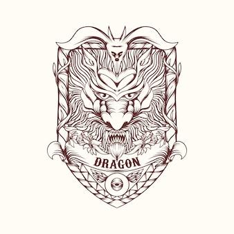 Illustrazione del drago con ornamento