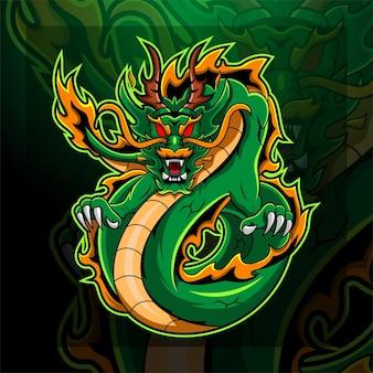 Disegno del logo della mascotte del re drago
