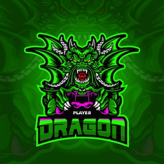 Illustrazione di dragon logo esport