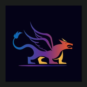 Cartone animato moderno logo drago