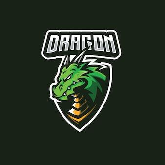 Illustrazione del distintivo della mascotte del drago per il design del logo della squadra di gioco esport