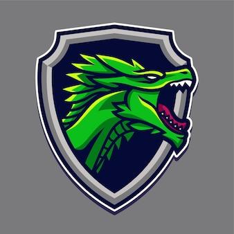Illustrazione di progettazione di logo del carattere della mascotte del drago