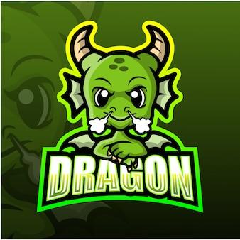 Illustrazione della mascotte del drago esport