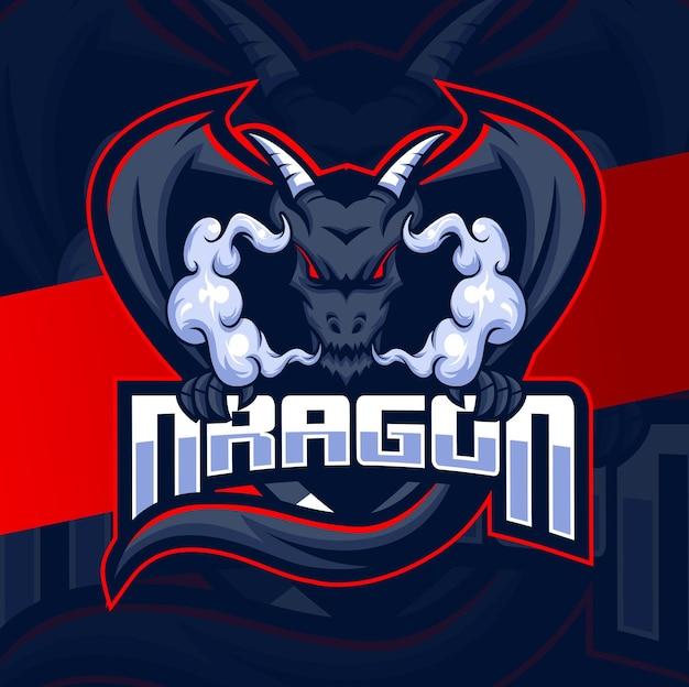 Drago mascotte esport logo design per logo sportivo e di gioco con artiglio e nuvola di fumo