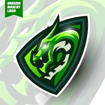 Design del logo esport della mascotte del drago