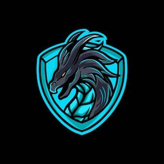 Design del logo di gioco della mascotte del drago