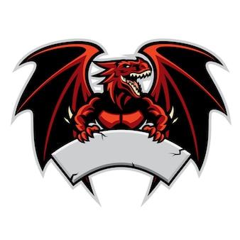La mascotte del drago tiene il segno in bianco