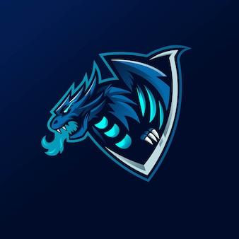 Vettore di progettazione di logo della mascotte del drago con stile moderno di concetto dell'illustrazione per stampa del distintivo, dell'emblema e della maglietta