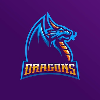 Logo della mascotte del drago per la squadra di e-sport.