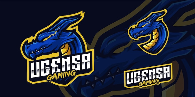 Logo mascotte drago per giochi twitch streamer giochi esports youtube facebook