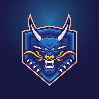 Modello di logo della mascotte del drago