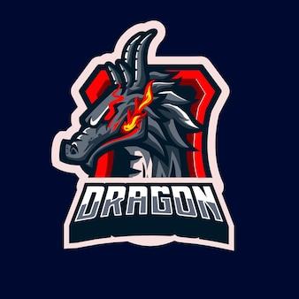 Stile di carattere delle mascotte del drago, con il fuoco