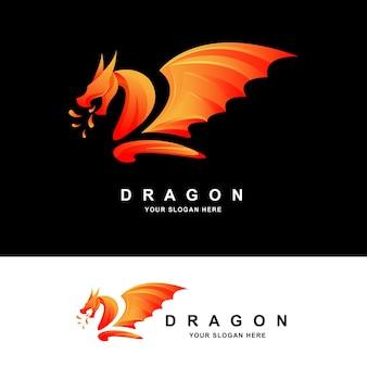 Modello di progettazione del logo a colori moderni del drago