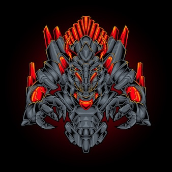 Illustrazione di stile cyberpunk di drago mostro robot