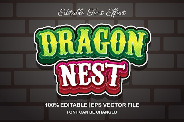 Effetto di testo modificabile nido di drago in stile 3d