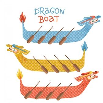 Insieme dell'icona di festival di barca da regata del drago. illustrazione piana del fumetto isolata nel fondo bianco con il testo dell'iscrizione