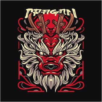 Logo della mascotte di dragon ryu esport