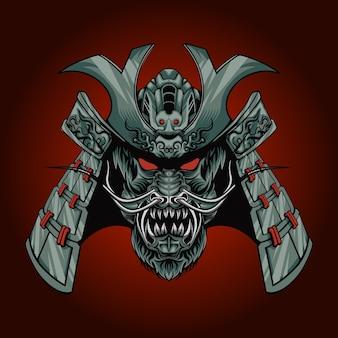 Illustrazione della testa del samurai del drago con tema classico