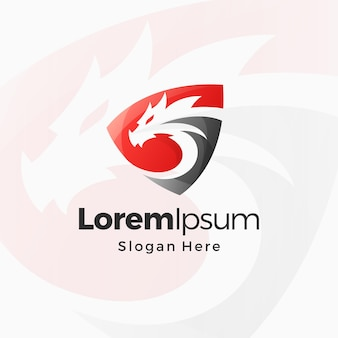 Modello di design premium con logo sfumato scudo drago