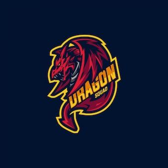 Logo della mascotte della squadra del drago e logo di gioco