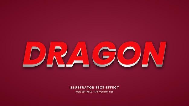 Effetto di testo moderno 3d in stile drago con caratteri modificabili