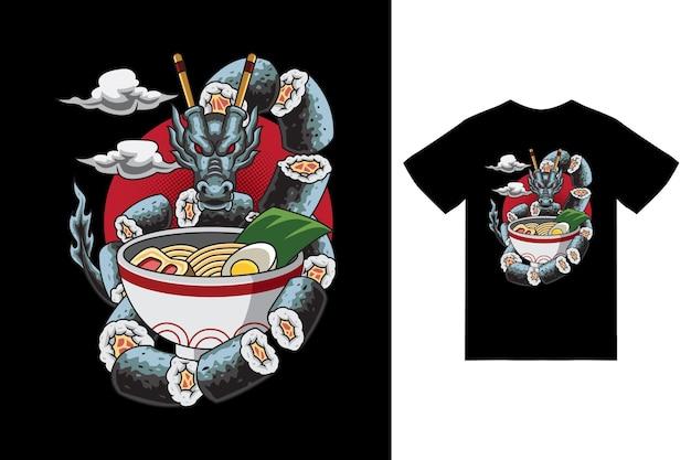 Illustrazione di drago sushi ramen con tshirt design premium vector