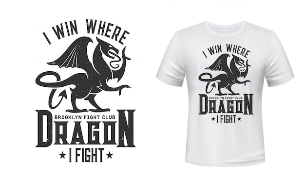 T-shirt con stampa drago, emblema del fight club