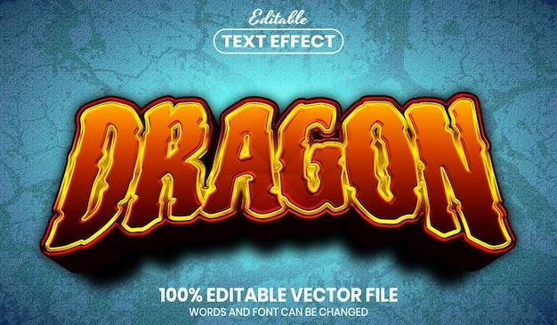 Testo del drago, effetto di testo modificabile in stile carattere Vettore Premium