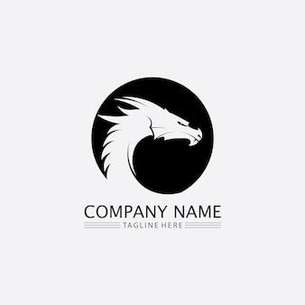 Modello di logo di progettazione dell'illustrazione di fantasia animale dell'icona di vettore del drago