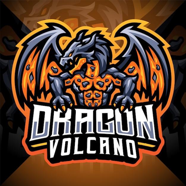 Logo mascotte esport del vulcano drago