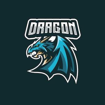 Illustrazione della mascotte dell'ala del drago per il design del logo della squadra di gioco esport