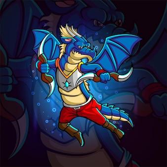 Il drago con boomerang esport logo design dell'illustrazione