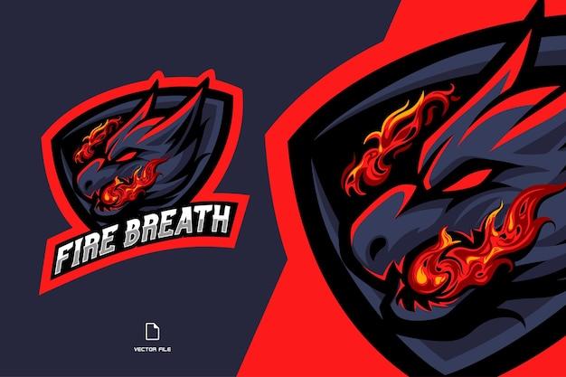 Drago con illustrazione del logo esport della mascotte del respiro del fuoco per la squadra di gioco
