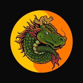 Drago yin yang vettore premium