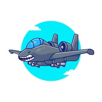 Illustrazione dell'icona del fumetto di volo del getto della libellula. concetto di icona di trasporto aereo isolato premium. stile cartone animato piatto