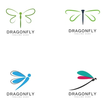 Disegno dell'illustrazione dell'icona di vettore del modello di logo della libellula