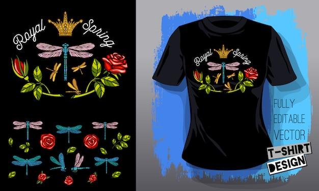 Libellula, rose, fiori, foglie ricami dorati regina corona tessuti tessili t shirt design lettering ali d'oro insetto moda di lusso stile ricamato disegnati a mano