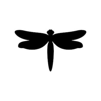 Silhouette di libellula in uno stile semplice. contorno vettoriale emblema di insetto con ali per la creazione di loghi di saloni di bellezza, manicure, massaggi, spa, gioielli, tatuaggi e artisti fatti a mano.