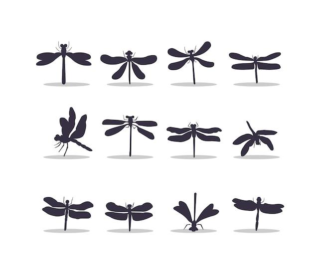 Disegno dell'illustrazione di vettore della siluetta della libellula