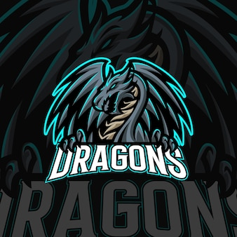 Modello di vettore logo mascotte draghi