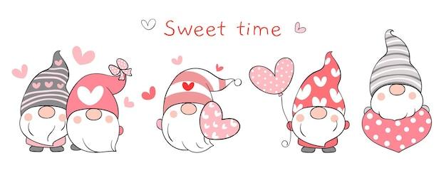 Disegna banner adorabili gnomi innamorati di san valentino.