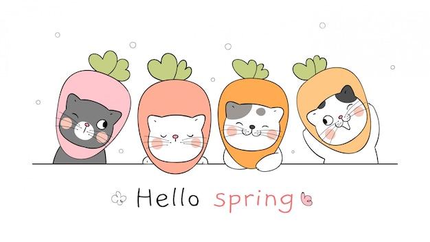 Disegna il gatto banner per la stagione primaverile.