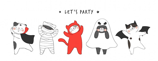 Disegna banner simpatico gatto per il giorno di halloween.doodle stile cartoon.