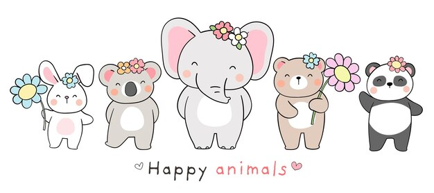 Disegna un animale felice di design per banner per la primavera e la pasqua