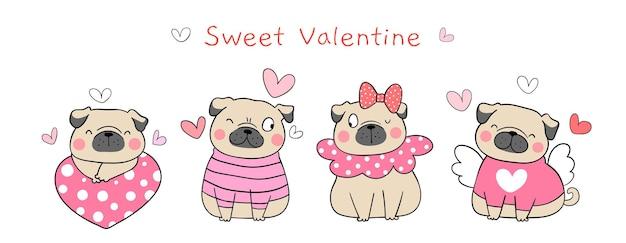 Disegna il cane dolce del pug di progettazione dell'insegna per san valentino.