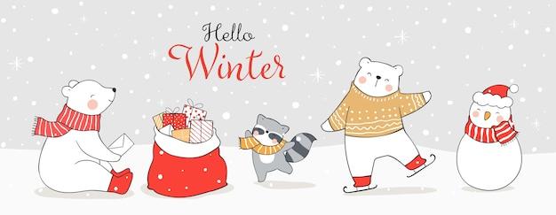 Disegna banner divertente orso polare e animali che giocano nella neve.