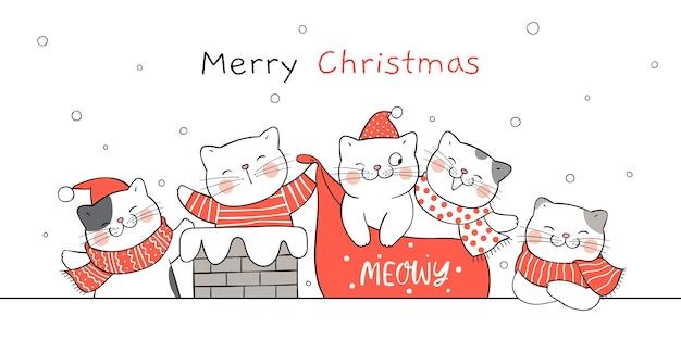 Disegna il gatto di babbo natale divertente banner sul tetto nella neve.