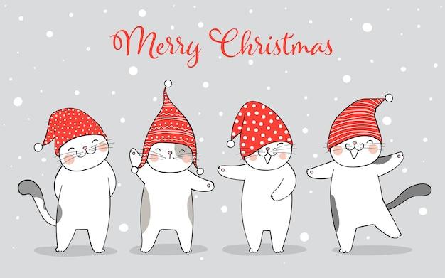 Disegna banner gatto felice nella neve per l'inverno e il natale