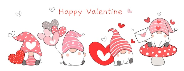 Disegna dolci gnomi banner per san valentino.